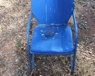 Vintage Blue Metal Patio Chair