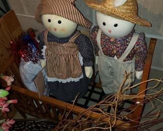 All kinds of holiday decor; doll crib