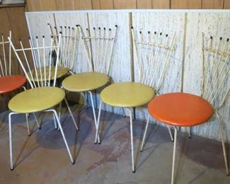 Set of 6  Reilly-Wolf Atomic Mid Century Eames Era Ice Cream Parlor Chairs & Table