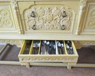 Secret Drawer in Buffet With 2 sets of Mid Century Flatware