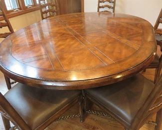 Round Pedestal Dining Table & 6 Ladderback Chairs Parquet Designed Top