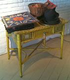 Antique Yellow Wicker Desk or Vanity with Drawer