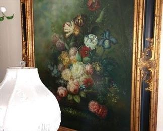Living Room:  Vargas Oil Painting