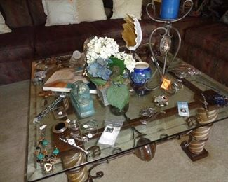 coffee table, jewelry, misc