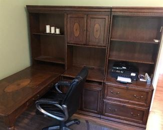 Desk with file cabinet and book shelf