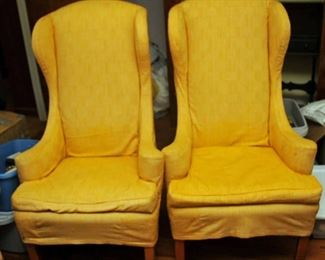 VINTAGE PAIR OF WING BACK UPHOLSTERED CHAIRS