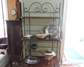 Wrought Iron and wood Bakers Rack- shown with plated serving pieces
