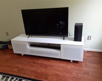5 in flat screen television and entertainment cabinet stand