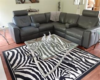 Ultimate home theater leather electric reclining sectional sofa with drink holders built in