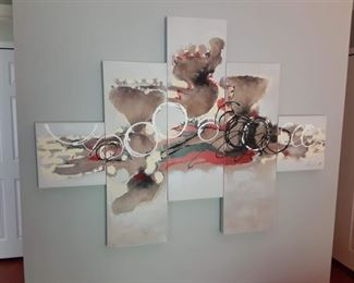 Stainless steel painted wall sculpture