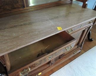 Side Board/Serving Buffet- Ornate with marble top drawer