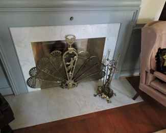 Fire Place Set- fan shape screen and tools
