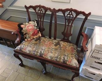 Entry Bench/Settee- Chippendale style with upholstered seat cushion