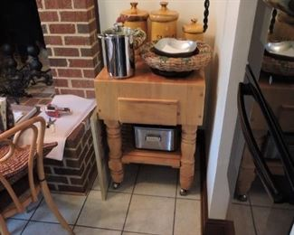 Butcher block kitchen table- items pictured on table not for sale