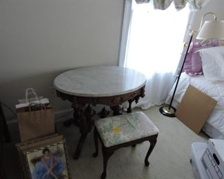 Parlor side table marble top very ornate