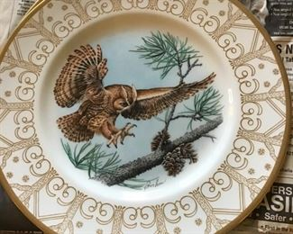 Boehm owl plate collection 24K trim.  There are 8 in the series.