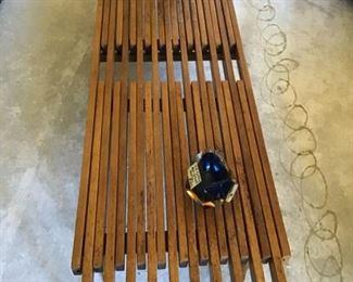 Mid-Century Sliding Slatted Coffee Table