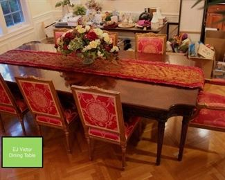EJ Victor Dining Table Expands to 134 Inches Includes Three Leaves, Eight Chairs