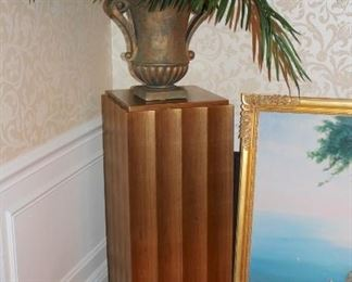 Pair of Pedestals with Plant and Urn