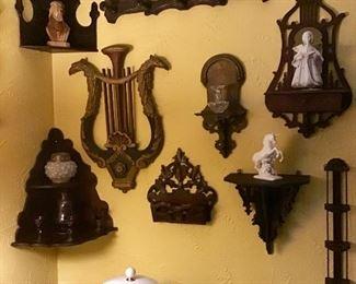 Assorted wooden wall shelves