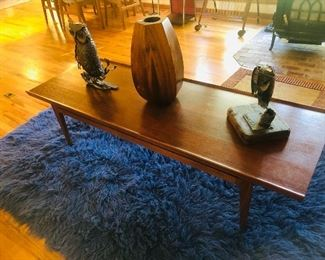 Finn Juhl Coffee Table, Rosewood Vase, mid century metal owl art.