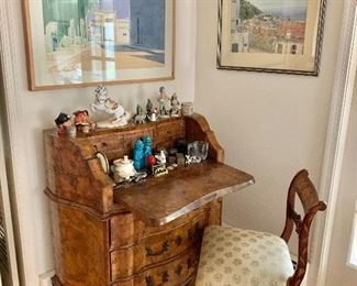 Antique desk plus collectibles