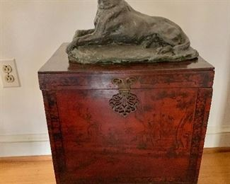 Chinese chest plus dog statue