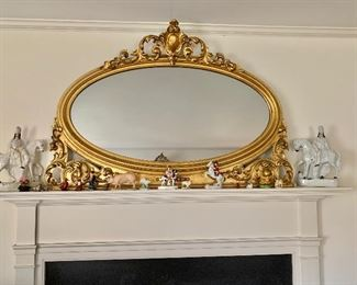 Gold framed mirror plus collectibles