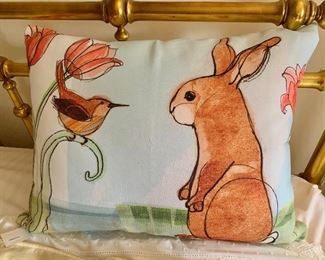 Bird and Rabbit Pillow