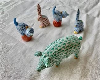 Herand cat, rabbit and pig figurines