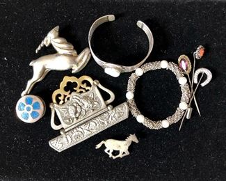 Horse pin, bracelets and stickpins