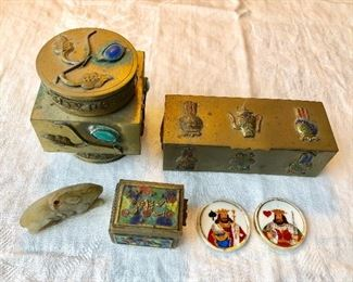 Jade rabbit, cloisonne boxes, card discs