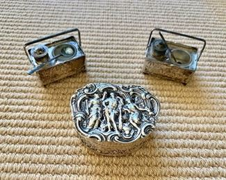 Sterling box and salt and pepper shakers