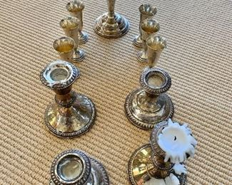 Sterling silver candle holders,  dish and cups