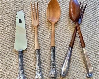 Salad Utensils - sterling handles