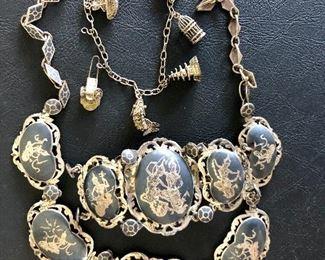 Sterling charm bracelet, Siam nelloware