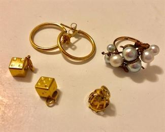 Dice charms, birdcage charm, gold hoops, pearl ring