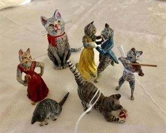 Austrian cold painted bronze cat figurines