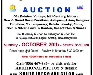 South Jersey Auction October 20th Center