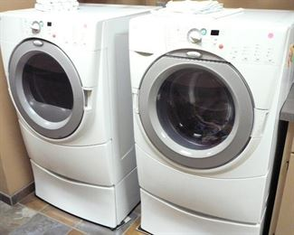 Whirlpool Duet washer and dryer on pedestals