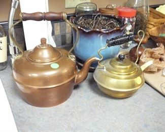 Antique Copper and Brass Teapots