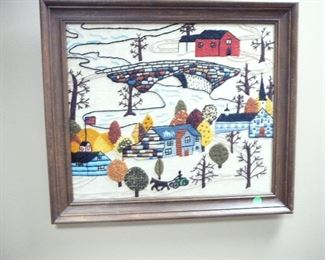 Grandma Moses inspired Textile Picture