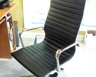 Black Leather and Chrome office chair