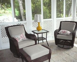 Great Set of Swivel Rockers, Ottoman and table in simulated Wicker