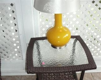Glass Top Simulated Wicker Garden table and Yellow Ceramic Table Lamp