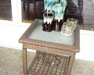 simulated Wicker Glass top table