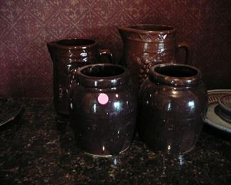 Antique Brown Stoneware Crocks and Pitchers