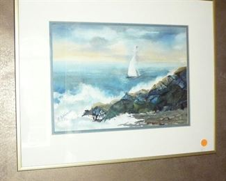 Original Water Color of Sail Boat on the ocean by F. Guhleman (Jefferson city Artist)