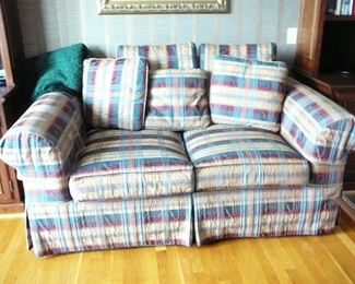 Loveseat by Rust & Martin in Plaid Ribbon Upholstery