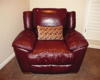 Burgundy Leather recliner by Natuzzi